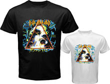 Print T Shirt Short Sleeve Def Leppard *Hysteria Rock Band Logo Printed Men'S Round Neck Short Sleeve T Shirts Tops Tees