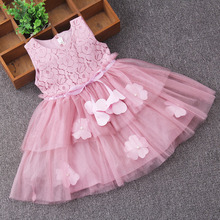 Summer Girls tulle flowers Dress Rose Purple Pink ball gowns kids Frocks Princess Tutu Ribbon Dresses Wedding Birthday vestidos