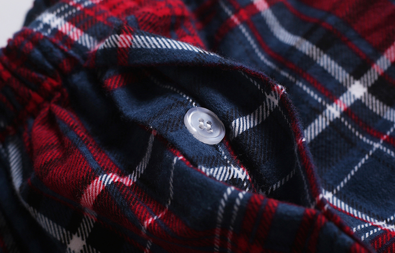 Fashion sexy Plaid 100% cotton male pajamas sets mens casual sleep Clothing simple sleepwear pyjamas pijama de hombre homewear 11