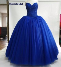 CloverBridal Sweetheart Puffy Royal Blue Tulle skirt Ball Gown Sweet 16 Quinceanera Dresses Vestido 15 Anos Free Tailor-made(China)