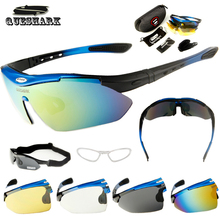Queshark Polarized Cycling Sunglasses Mountain Road Bike Glasses Riding Bicycle Goggles Hiking Sports Eyewear With Myopia Frame