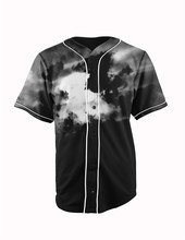 Real American Size  dark clouds 3D Sublimation Print Custom made Button up baseball jersey plus size