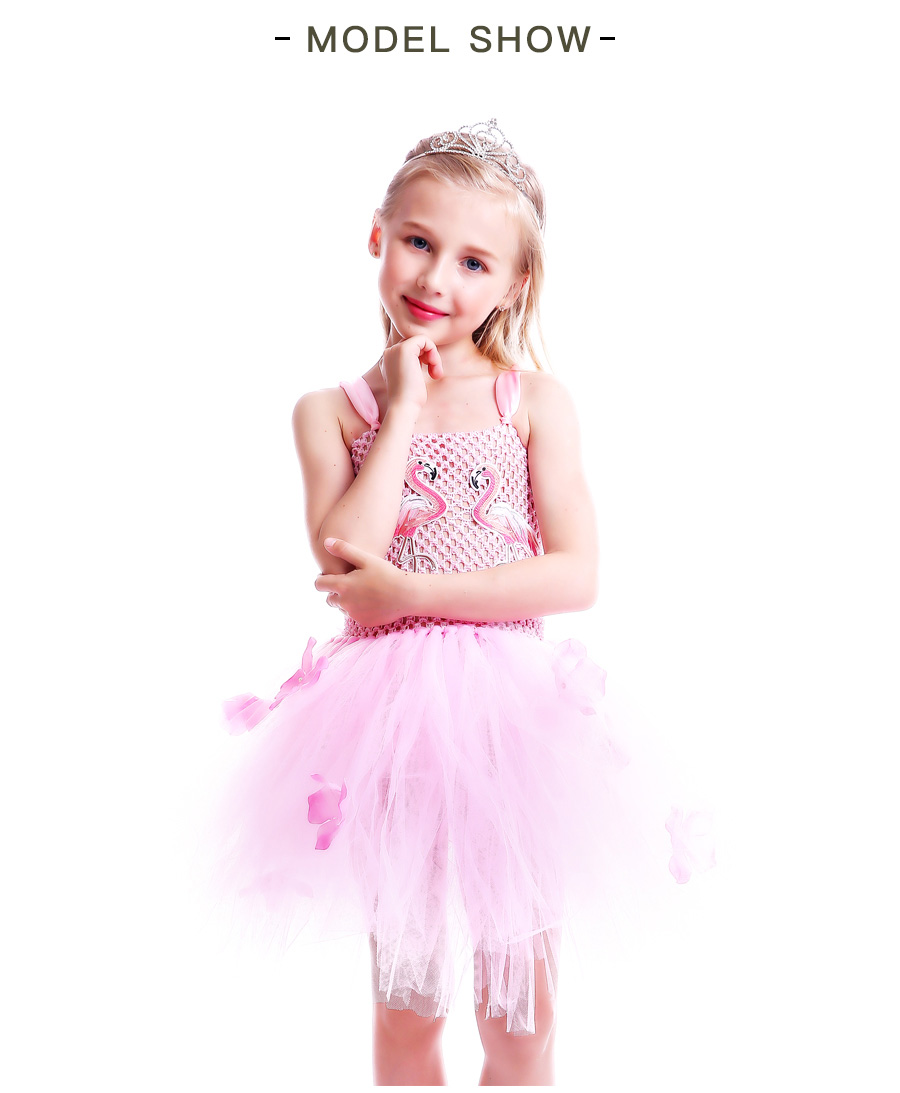 Girls Flamingo Kiss Tutu Dress Cartoon Flamingos Flower Princess Dresses for Photo Birthday Party Dress Up Clothing Summer Dress (12)
