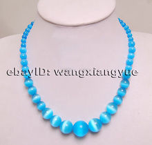 "USA Nobility Lucky women's natural jewelry Fashion 6-14mm Blue Mexican Opal Gem Round Beads Necklace   17"" Silver hook"