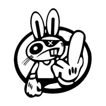 12.1*14CM Cool Car Styling Decal Drift Rabbit Racing JDM Car Stickers Vinyl Bumper Decoration Black/Silver S1-2629
