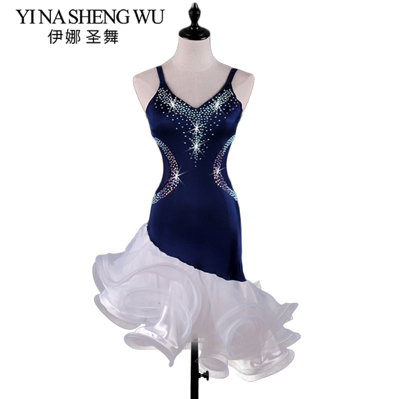 Adults Sling Latin Dance Skirt New Adult Female High-end Diamond Latin Dance Show Competition Clothing Waist Through Net Yarn