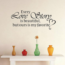 New Wall Stickers Home Decor - English quote Every Love Story is Beautiful Vinyl Lettering Words Wall Art Quote Sticky Decals(China)