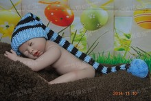 Free shipping Handmade Baby Hat Crochet Stripe Light blue / brown Elf Hat Christmas hat Newborn Photo Prop