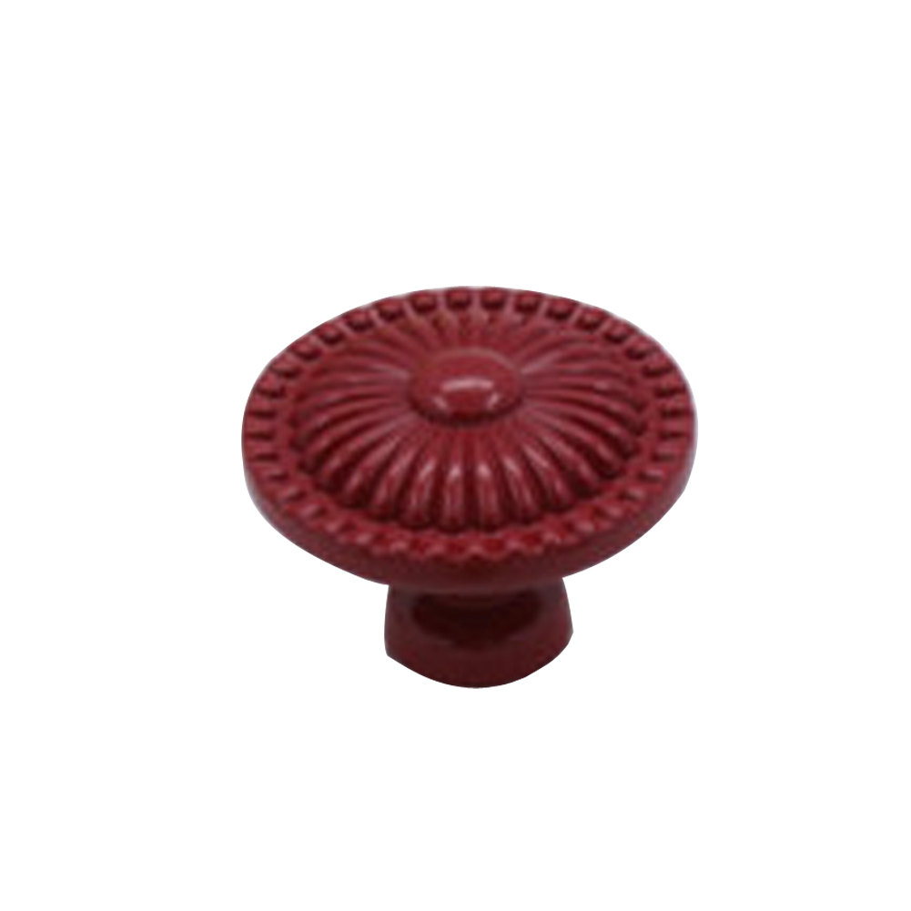 New 1 Pair Flower Shape Ceramic Cupboard Cabinet Drawer Knob Pull Handle (Red) E2shopping<br><br>Aliexpress