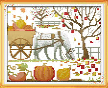 Magical pumpkin patterns Counted Cross Stitch 14CT Unfinished Cross Stitch Sets scenery Cross Stitch Kit Embroidery Needlework(China)