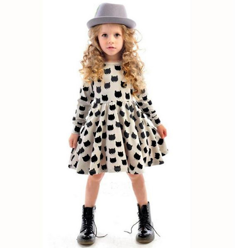 2016 Summer Dress Girl Long Sleeve Knee Length Panda Pattern Girls Party Dresses Toddler Girl Clothing Cotton Kids Dresses 2-7Y<br><br>Aliexpress