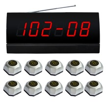 wireless calling system for card room,1 pc display of silver APE2500 and 10 pcs bell call,Display one groups of five-digit(China)