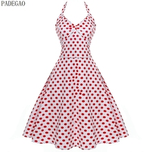 PADEGAO white polka dot vintage dress halter sleeveless lace up patchwork ball gown evening party prom short retro vintage dress(China)