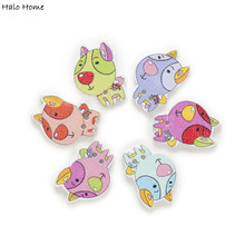 50pcs Cartoon Dog Wood Buttons Sewing Scrapbooking Handwork Clothing Gift Home Decor 25x18mm