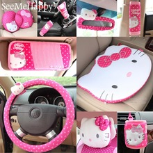 Red Hello Kitty Car-Styling Car Seat Covers Interior Accessories Car Steering Wheel Cover Safty Belt Handbrake Gears Cover