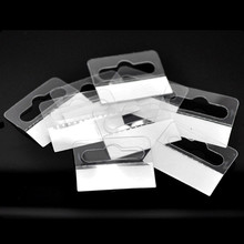 "500Pcs White Clear Packaging Display Cards In Jewelry Tags Hanging With Adhesive 4.1cmx3.2cm(1 5/8""x1 2/8"")"