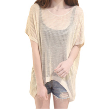 2017 New Spring Summer Loose Short Sleeve Plus Size Hollow Out Knitted Tops Bat Sleeve Irregular Fashion Grid T-Shirt SU0050(China)