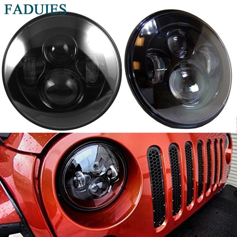 FADUIES Black 7 inch LED Headlight 40W H4 High low Beam For Jeep Wrangler JK 2 Door 4 Door LandRover Defender Headlamp (7)