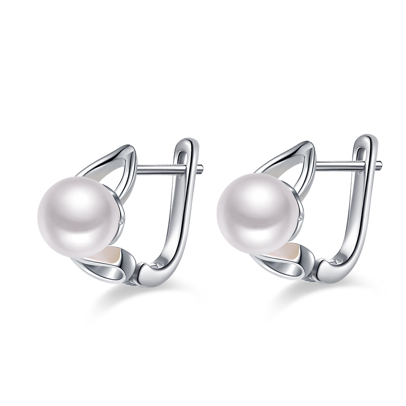 CAA0275EB Freshwater pearls silver earring for women pink purple white optional (1)