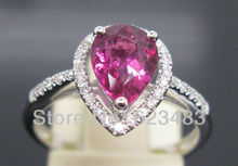 Pear 6.5*8.5mm Stunning Solid 14K White Gold . Tourmaline Wedding Ring