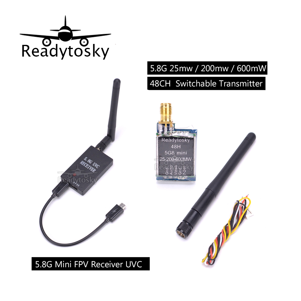 Newest Mini 5.8G FPV Receiver UVC Video Downlink OTG + Micro 5.8G 25mw / 200mw / 600mW 48CH adjustable / Switchable Transmitter<br>