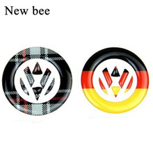 Newbee Germany Flag Emblem Steering Wheel Car Sticker For Volkswagen Golf 6 7 Polo Beetle Touran Passat CC Front Rear Logo Decal(China)