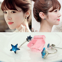 New Women Cute Korean Style Ear Studs Elegant Alloy Star Earrings Ear Jacket Jewelry BE3P(China)