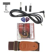 Tooyful Guitar Parts Amplifier Audio Cable w/ 3 Connetors+Leather Ends Strap+String E B G D A E+Picks 1mm(China)