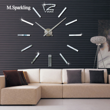 M.Sparkling DIY wall clock modern design digital wall clock sticker large size living room kitchen decorative 3D clock()