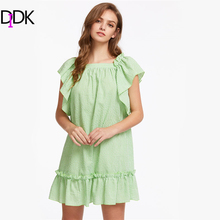 DIDK Green Plaid Flutter Sleeve Bow Back Frilled Dress Summer Square Neck Cap Sleeve Casual Cotton Dress 2017 Shift Dress