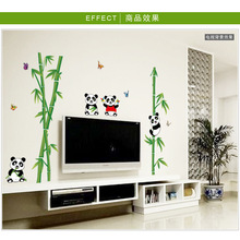 New Arrival Kids Reading Room Lounge Living Room Wall Decoration Cute Panda Bamboo Wall Sticker Removable(China)