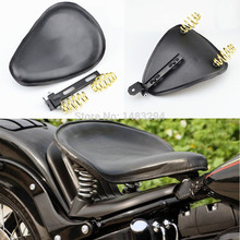 Black Leather & Black Stitch Solo Spring Bracket Motorcycle Seat Fits For Harley Sportster Chopper Custom(China)