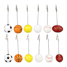 1pc 4-5.1cm Memo Holder Football Soccer Ball Shape Metal Memo Paper Clips for Message Photo Decor(China)