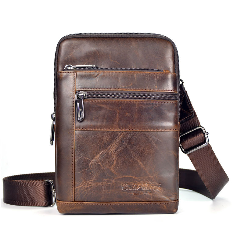 New Mens Oil Wax leather First layer Cowhide Travel Cross Body Messenger Shoulder Fashion High Quality Sling Chest Bag<br>
