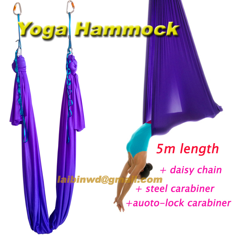 5m luxury sets home  flying Yoga Hammock Swing Trapeze Anti-Gravity Inversion Aerial Traction Device with daisy chain +carabiner<br><br>Aliexpress