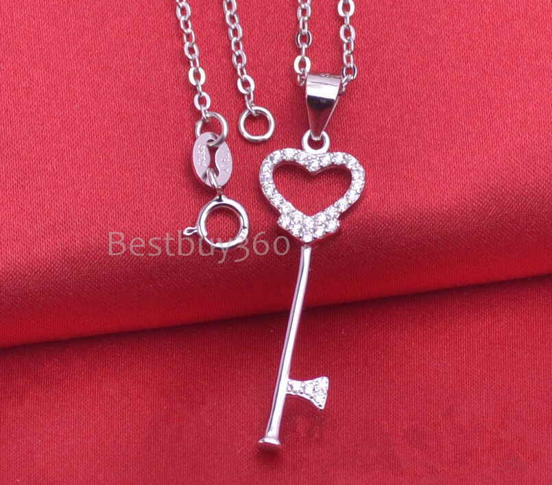 Brand new 925 sterling silver key necklace fashion jewelry for women cubic zirconia necklace(China (Mainland))