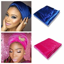 Velvet Headwrap Women Earwarmers Scrunchy Twist Hair Band Turban Bandana Bandage hijab Head Wrap Extra Long tube Scarf Tie India(China)