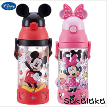 500ml Disney BPA free safe leakproof straw 3D Mickey Minnie cartoon kids camping drinking water bottles Mickey baby space bottle(China)