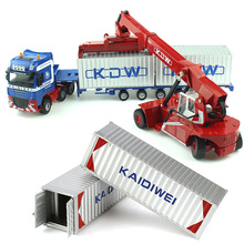 Alloy Diecast 1:50 Low Bed Transporter Container /Reach Stacker /Front Trolley Truck Rubber Tire Vehicles Model Kids Gift Toys(China)