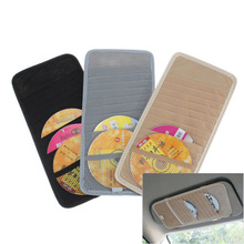 Hot 1PCS Car CD DVD Sun Visor Card Case Storage Holder Clipper Bag Pocket 12pcs Disks Black  Beige Gray