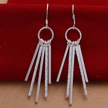 New Wholesale Fashion silver plated earing five lines tassel 5.7cm long earrings for women Free Shipping(China)