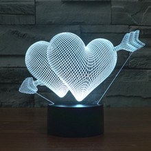 (4pcs/lot) Color Change  Cupid The Arrow of Love 3D Acrylic LED Night Light USB LED Decorative Table Lamp Baby Sleep Mood Lamp