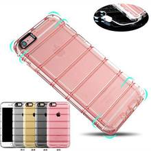Shockproof Hybrid Rubber Stripe Sling Clear Soft TPU Phone Case Cover For iPhone 6 6S Plus 4.7 5.5'' With Dust Plug 200pcs/lot