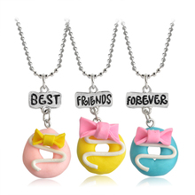 3pcs BEST FRIENDS FOREVER Soft Pottery Bowknot Cake Bread Pendant Necklaces Friendship Creative BFF Keepsake Christmas Gift