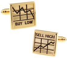Promotion! Men Cufflinks Fashion  wholesale&retail top copper Stock market BUY LOW SELL HIGH Design Cuff links Free Shipping
