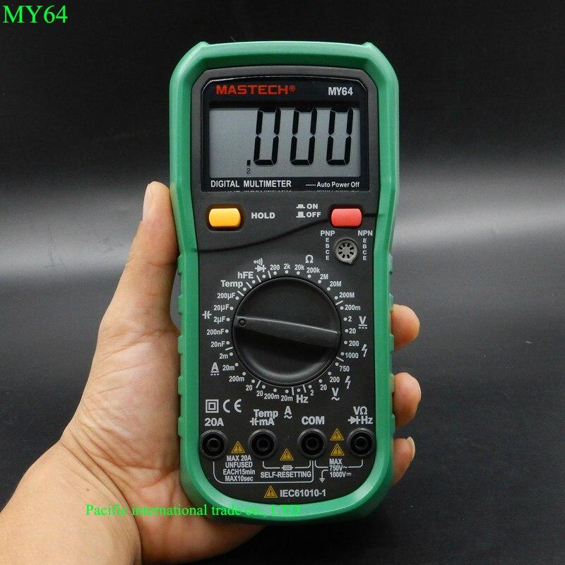 MASTECH MY64 Digital Multimeter AC/DC DMM Frequency Capacitance Temperature Meter Tester w/ hFE Test Ammeter Multitester <br><br>Aliexpress
