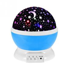New BedRoom Novelty Night Light Projector Lamp Rotary Flashing Starry Star Moon Sky Star Projector for Kids Children Baby(China)