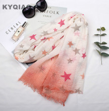 KYQIAO Women spring autumn Spain style hippie long blue yellow green pink grey five-pointed star print scarf printed scarves