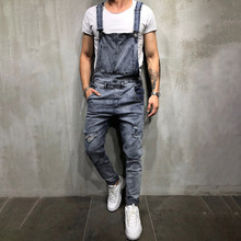 Men's 전반적으로 캐주얼 Jumpsuit 진 Wash Broken Pocket overol 험 브레와 바지 Suspender Pants jumpsuit 뽀빠이 바지 homme # wm6(China)