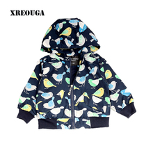 XREOUGA Autumn Baby Boy Zipper Jackets Cartoon Blue Bird Printed Long Sleeve Coats Black Warm Outwear Hats Removable Tops GRE10